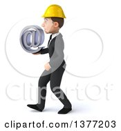 Clipart Of A 3d Young White Male Contractor Holding An Email Arobase At Symbol And Walking On A White Background Royalty Free Illustration
