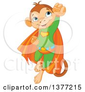 Clipart Of A Cute Super Hero Monkey Flying In A Green Suit And Orange Cape Royalty Free Vector Illustration by Pushkin