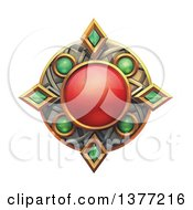 Clipart Of A Ruby And Emerald Emblem On A White Background Royalty Free Illustration