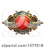 Ruby And Metal Emblem On A White Background