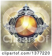Clipart Of A Metal And Amber Emblem On A Magical Background Royalty Free Illustration