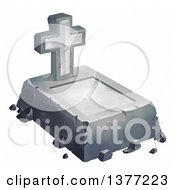 Clipart Of A Concrete Grave And Cross Headstone On A White Background Royalty Free Illustration by Tonis Pan