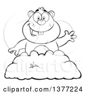 Clipart Of A Cartoon Black And White Groundhog Emerging From His Den And Waving Royalty Free Vector Illustration by Hit Toon