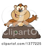 Clipart Of A Cartoon Groundhog Emerging From His Den And Waving Royalty Free Vector Illustration by Hit Toon