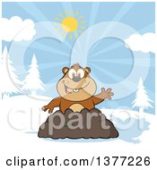 Clipart Of A Cartoon Groundhog Emerging From His Den And Waving With A Shadow Royalty Free Vector Illustration by Hit Toon