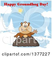Clipart Of A Cartoon Groundhog Emerging From His Den And Waving With A Shadow Under Text Royalty Free Vector Illustration by Hit Toon