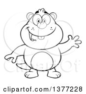 Clipart Of A Cartoon Black And White Groundhog Waving Royalty Free Vector Illustration by Hit Toon
