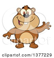 Clipart Of A Cartoon Groundhog Waving Royalty Free Vector Illustration