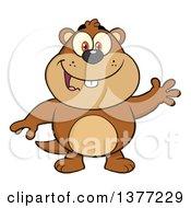 Clipart Of A Cartoon Groundhog Waving Royalty Free Vector Illustration