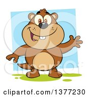 Clipart Of A Cartoon Groundhog Waving Over A Blue Square Royalty Free Vector Illustration by Hit Toon