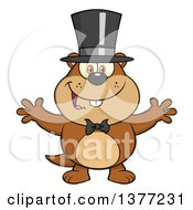 Clipart Of A Cartoon Groundhog Wearing A Hat And Welcoming Royalty Free Vector Illustration
