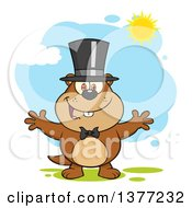 Clipart Of A Cartoon Groundhog Wearing A Hat And Welcoming Under Sunshine Royalty Free Vector Illustration by Hit Toon