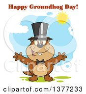 Clipart Of A Cartoon Groundhog Wearing A Hat And Welcoming With Text And Sunshine Royalty Free Vector Illustration by Hit Toon