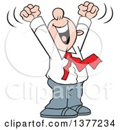 Clipart Of A Cartoon Happy White Business Man Cheering With His Arms Above His Head Royalty Free Vector Illustration