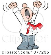 Clipart Of A Cartoon White Business Man Doing A Big Yawn With His Arms Above His Head Royalty Free Vector Illustration