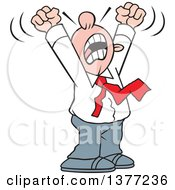 Clipart Of A Cartoon Angry White Business Man Yelling With His Arms Above His Head Royalty Free Vector Illustration
