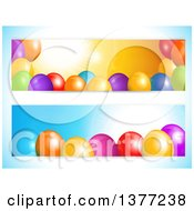 Clipart Of Party Banners With 3d Colorful Balloons And Text Space On A Gradient Blue Background Royalty Free Vector Illustration by elaineitalia