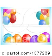 Clipart Of White Party Banners With 3d Colorful Balloons And Text Space On A Gradient Blue Background Royalty Free Vector Illustration by elaineitalia