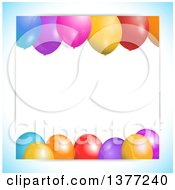 Background Of 3d Colorful Party Balloons And Text Space With A Gradient Blue Border