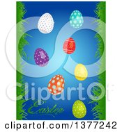 Clipart Of 3d Shiny Patterned Easter Eggs Over Blue With Text And Borders Of Grass Royalty Free Vector Illustration