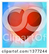 Clipart Of A 3d Red Valentine Love Heart Over Geometric Blue With A Shaded Border Royalty Free Vector Illustration by elaineitalia
