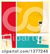 Poster, Art Print Of Roller And Standard Paint Brushes With Red Yellow And Turquoise Paint Over A Gradient Yellow Background