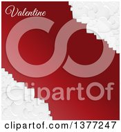 3d Corners Of White Valentine Love Hearts Over Red With Text And Copy Space
