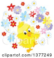 Poster, Art Print Of Happy Baby Yellow Spring Chick With Flowers