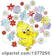 Clipart Of A Happy Yellow Spring Chick With Flowers Royalty Free Vector Illustration