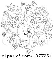 Clipart Of A Black And White Happy Spring Chick With Flowers Royalty Free Vector Illustration