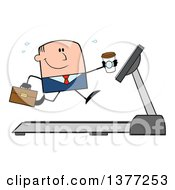 Clipart Of A Cartoon White Business Man Holding A Coffee And Running On A Treadmill Royalty Free Vector Illustration