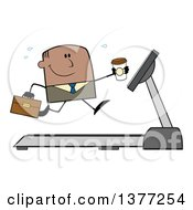 Clipart Of A Cartoon Black Business Man Holding A Coffee And Running On A Treadmill Royalty Free Vector Illustration