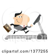 Clipart Of A Cartoon White Business Man Running On A Treadmill Royalty Free Vector Illustration