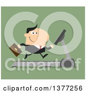 Clipart Of A Flat Design White Business Man Running On A Treadmill Over Green Royalty Free Vector Illustration