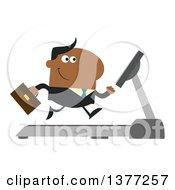 Clipart Of A Cartoon Black Business Man Running On A Treadmill Royalty Free Vector Illustration