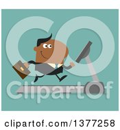 Clipart Of A Flat Design Black Business Man Running On A Treadmill Over Turquoise Royalty Free Vector Illustration