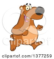 Clipart Of A Cartoon Happy Brown Bear Running Upright Royalty Free Vector Illustration by Hit Toon