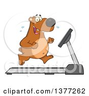 Clipart Of A Cartoon Happy Brown Bear Running Upright On A Treadmill Royalty Free Vector Illustration by Hit Toon
