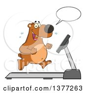 Clipart Of A Cartoon Happy Brown Bear Talking And Running Upright On A Treadmill Royalty Free Vector Illustration by Hit Toon