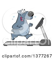 Clipart Of A Cartoon Happy Bear Running Upright On A Treadmill Royalty Free Vector Illustration by Hit Toon
