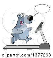 Clipart Of A Cartoon Happy Bear Talking And Running Upright On A Treadmill Royalty Free Vector Illustration by Hit Toon