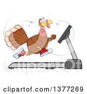 Clipart Of A Thanksgiving Turkey Bird Running In Sneakers On A Treadmill Royalty Free Vector Illustration by Hit Toon