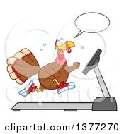 Clipart Of A Thanksgiving Turkey Bird Talking And Running In Sneakers On A Treadmill Royalty Free Vector Illustration by Hit Toon