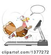 Clipart Of A Cartoon Thanksgiving Turkey Bird Super Bowl Football Player Talking And Running On A Treadmill Royalty Free Vector Illustration by Hit Toon