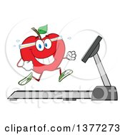 Clipart Of A Healthy Fit Red Apple Running On A Treadmill Royalty Free Vector Illustration by Hit Toon