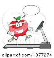 Clipart Of A Healthy Fit Red Apple Talking And Running On A Treadmill Royalty Free Vector Illustration by Hit Toon