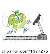 Clipart Of A Healthy Fit Green Apple Running On A Treadmill Royalty Free Vector Illustration by Hit Toon