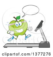 Clipart Of A Healthy Fit Green Apple Running And Talking On A Treadmill Royalty Free Vector Illustration by Hit Toon