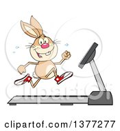 Clipart Of A Happy Brown Rabbit Running On A Treadmill Royalty Free Vector Illustration