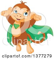 Clipart Of A Cute Super Hero Monkey Flying In A Green Cape Royalty Free Vector Illustration